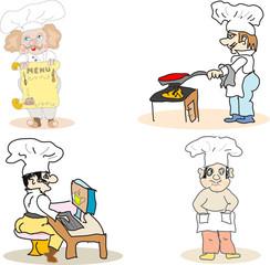 Set of chef cooks