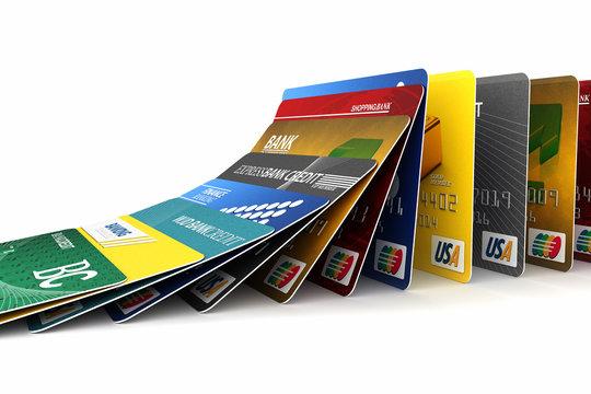 Falling credit cards - debt concept