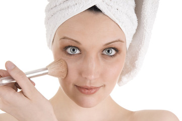 Beauty applying makeup