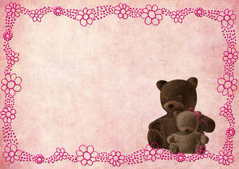 teddy bear greeting card with pink flowers