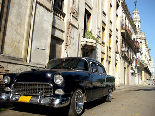 Garden Poster Cars from Cuba Black old car in the street
