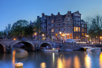 Amsterdam canal houses at twilight, The Netherlands