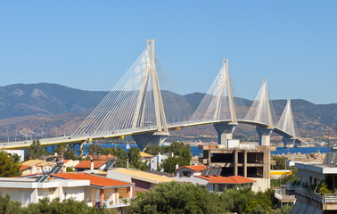 Cable stayed bridge of Patras city in Greece.