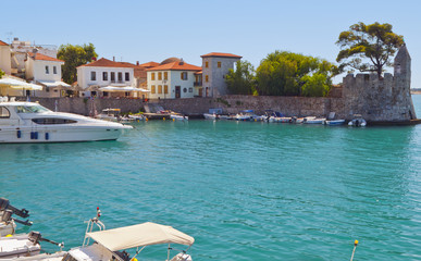 Scenic fishing village of Nafpaktos located in Greece