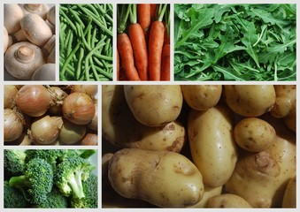 """Fresh Vegetables"" Collage (market carrots potatoes mushrooms)"