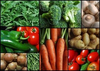"""Market Vegetables"" Collage (mushrooms carrots broccoli)"