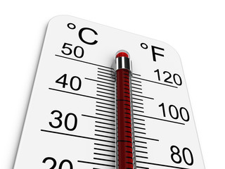 Thermometer indicates extremely high temperature