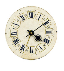 isolated on white and grunge vintage clock-face