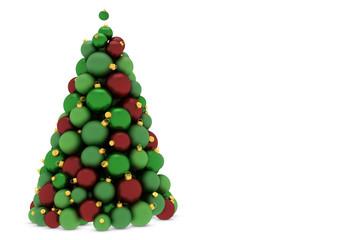 Weihnachtsbaum aus roten und grünen Christbaumkugeln