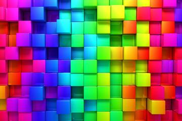 tło kolorowych pól 3D