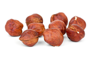 Few roasted hazelnuts