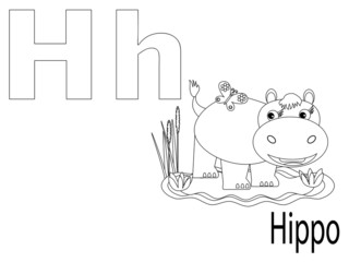 Coloring Alphabet for Kids ,H