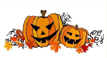 illustrated cute Halloween pumpkins