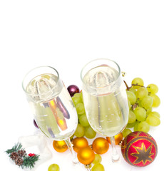 champagne grapes and Christmas balls