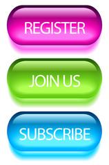 Register buttons, vector illustration