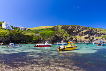 Colorful fishing boats at Harbour of Port Isaac, Cornwall