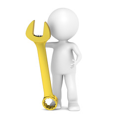 Finance. 3D little human character with a Golden Wrench