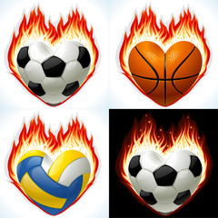 Football, basketball and volleyball in the shape of heart