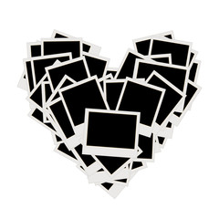 Pile of photos, heart shape, insert your pictures into frames