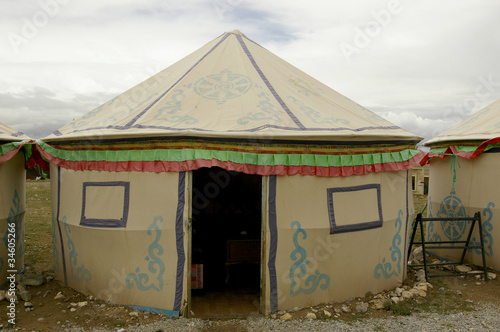 Tibetan tent house in the Himalayan foothills & Tibetan tent house in the Himalayan foothills