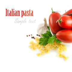 Italian pasta with tomatoes and garlic. (with sample text)