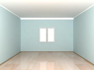 empty blue room with window