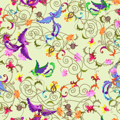 Seamless background with stylized flowers and birds