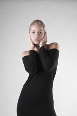 blonde in black dress
