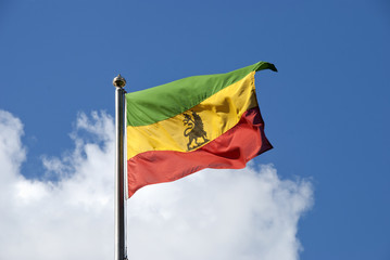 An Ethiopian Flag waving in the breeze