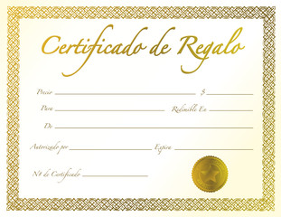 Spanish - Gold Gift Certificate