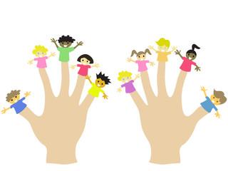 hand wearing 10 finger children puppets