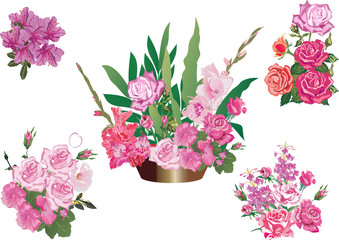 five pink flowers decoration isolated on white