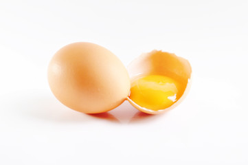 brown eggs on a white background