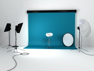 studio with softboxs and reflectors
