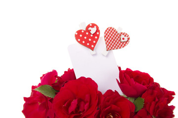 Card and roses