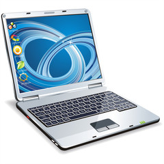 Vector laptop with icons on the sensitive screen
