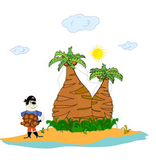pirate on an island with palm trees