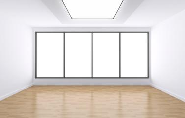 3d interno vuoto con finestre