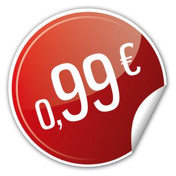 Button Rabatt - 0,99€ euro sparen reduziert rot
