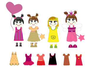 little girls and dresses vector