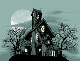 Creepy haunted ghost house scene illustration