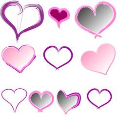 Herzen Heart Button handgemalt rosa