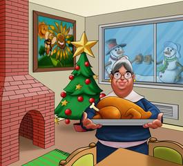 grandmother with a big turkey