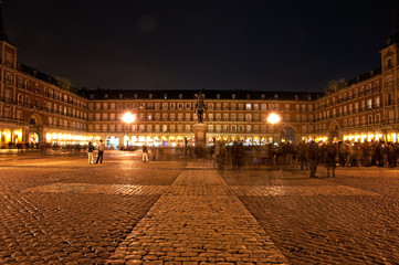 Plaza Mayor of Madrid at night, Spain
