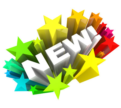 Word in Stars Announcing Brand New Product or Improvement