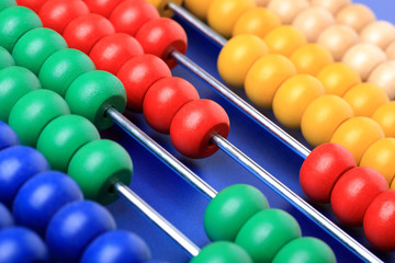 Abacus with coloured beads
