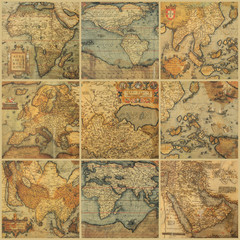 collage with antique maps