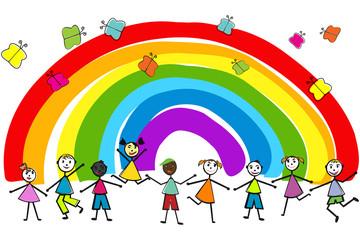 Aluminium Prints Rainbow Children playing on rainbow background