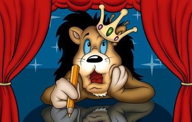 Lion in Theatre - Cartoon Illustration