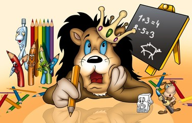 Lion in School - Cartoon Illustration